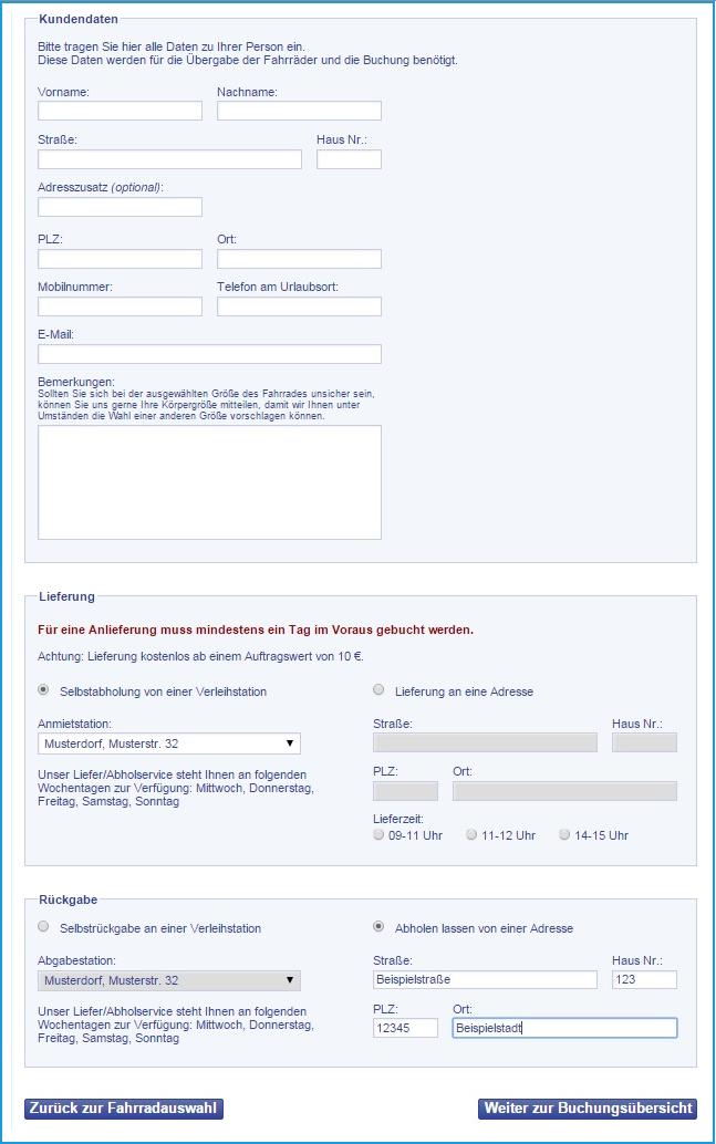 Kundendatenerfassung  der Buchungssoftware